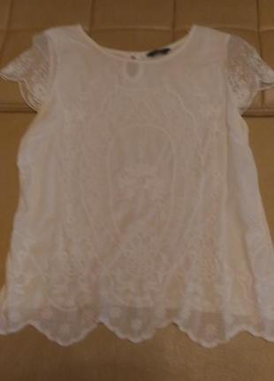 Блузка с прошвой f&f белого цвета, р. 10-12