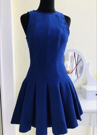 Стильное синее платье солнце юбка пышная юбка