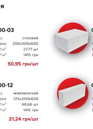 Газоблок на основі цементу, міцний. Доставка по Західній Україні