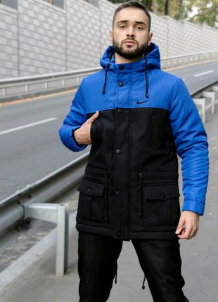 Парка Зима Nike (Найк) мужская сине-черная