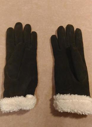 Замшевые перчатки тёмно-коричневые на меху, р.7-8