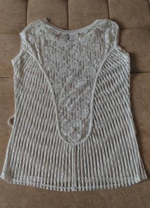 Кружевная блузка белого цвета размер 12-14