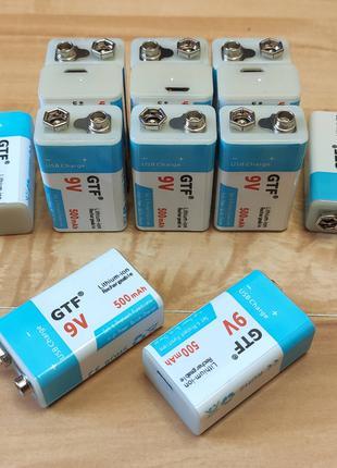 Аккумулятор Крона 6F22 9V 500mAh Li-Ion зарядка через microUSB