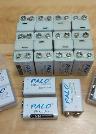 Аккумулятор Крона 6F22 9V 650mAh PALO Li-Ion заряд через microUSB
