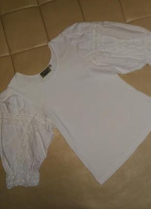 Шикарная белая блузка с прошвой, размер xl