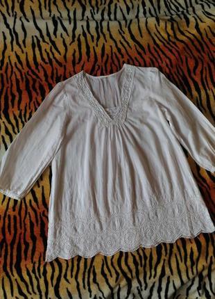 Пляжная рубашка блузка с прошвой, р.m