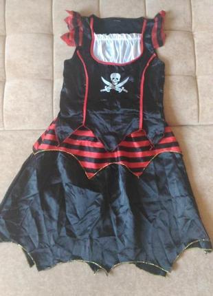Карнавальный костюм пиратки на хэллоуин,  11-12лет( юбка и кофта)