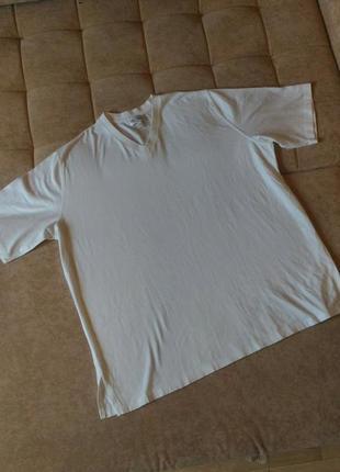 Белая футболка peter hahn с мысиком на горловине, р. xl- xxl