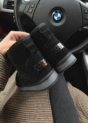 Ugg classic mini black metallic, женские угги