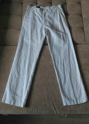 Белые, мужские,летние, лёгкие брюки лён number one, р.50,l-xl