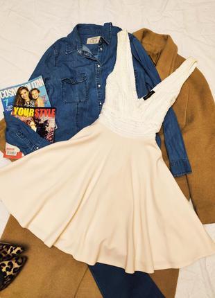 New look платье короткое бежевое белое кружевное со свободной ...