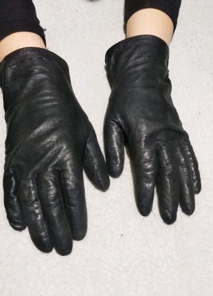 Перчатки кожаные женские чёрные 7 размер