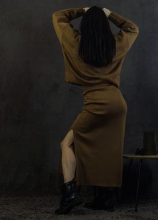 Тёплый трикотажный Костюм с юбкой ( три цвета )