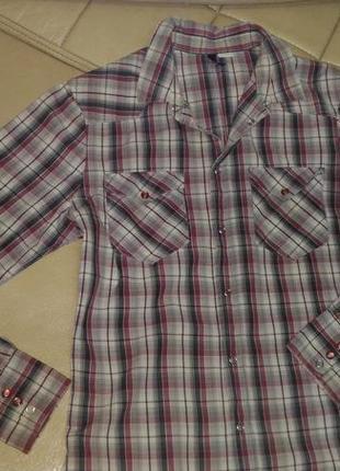 Рубашка в красно-чёрную клетку, р.12