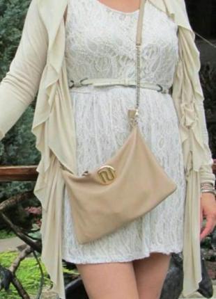 Платье кремового цвета, кружевное, ажурное, двухслойное