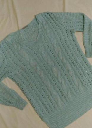 Вязаный свитер  небесно-голубого цвета,р.16