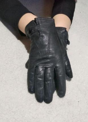 Перчатки кожаные женские чёрные 8,5 размер