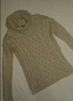 Вязаный, ажурный свитер цвет- пудра,р.10