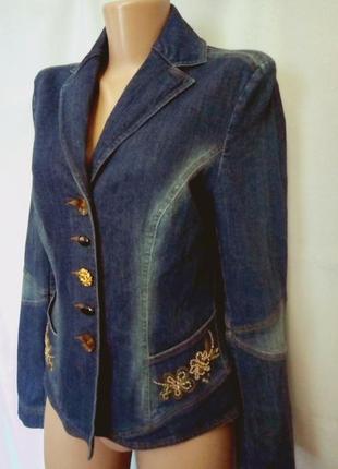 Стрейчевый джинсовый жакет, пиджак с вышивкой бисером   №1np