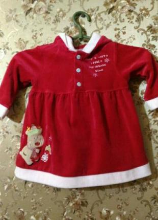 Красивейшее новогодне велюровое красное платье, 5-12 месяцев