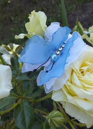 Красивые нежные бабочки ручной работы  из шифона и атласных лент