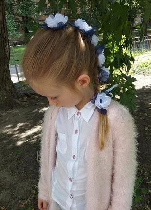 Лента в косу,  цветы из шифона