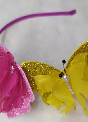 Красивый обруч бабочка, ободок з метеликами