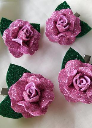 Сверкающая роза заколка, розовая роза, цветы из фоамирана