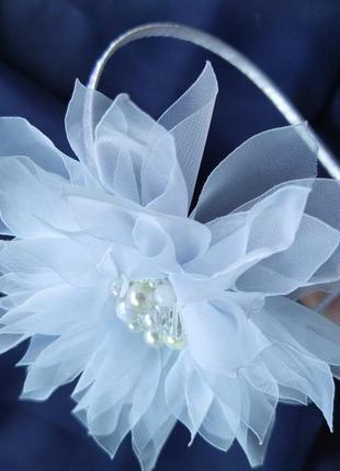 Обруч жумчужный георгин, цветы из шифона, ободок, веночек