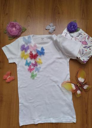 Нежнейшая и оригинальная футболка с бабочками ручной работы, ф...