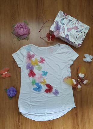 Оригинальная, яркая футболка с бабочками из шифона, футболка з...
