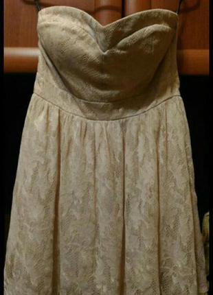 Двухслойное платье бюстье кремового- розового, пудрового цвета...