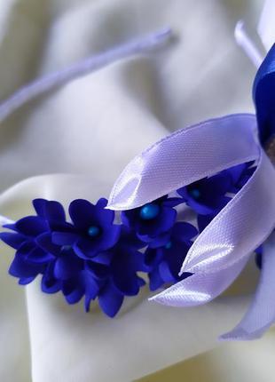 Обруч пролисок, ободок с синими цветками, веночек