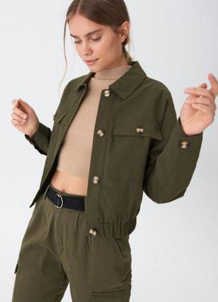 Бомбер цвета хаки, укороченная куртка осень house, оверсайз ку...
