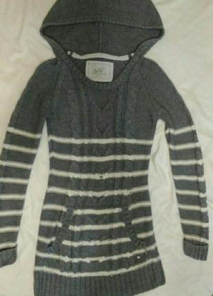 Вязаный тёплый свитер-платье с капюшоном new look,р.6-8