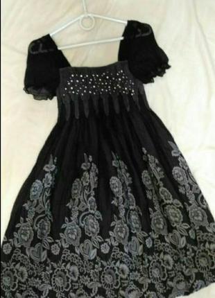 Платье-балон с цветочным принтом,
