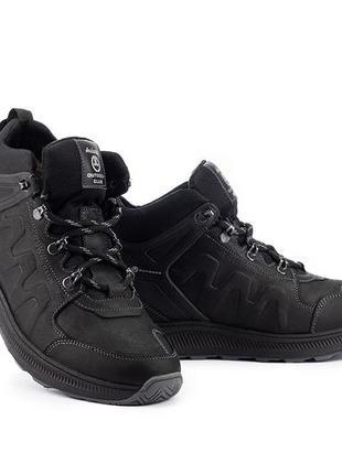 Мужские кроссовки кожаные зимние черные