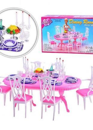 Мебель для кукол Gloria Глория 9712 Гостиная Барби, стол, стулья