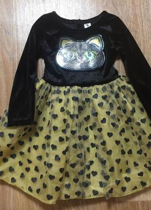 Новогоднее детское платье / новогодний костюм кошки