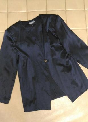 Летний, шёлковый пиджак тёмно-синего цвета, р.16