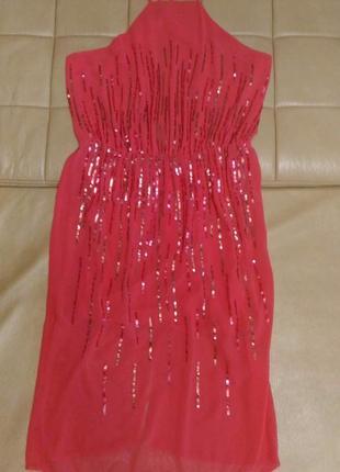 Вечернее, коктельное коралловое, шифоновое платье с пайетками,...