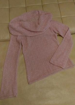 Вязаный, нежный свитер пудрово-розового цвета, р.12