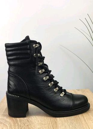 Женские ботильоны, кожаные ботильоны, ботинки на каблуке, боты