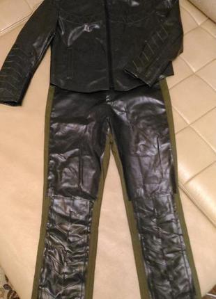 Костюм(куртка+брюки), эко-кожа, р.12