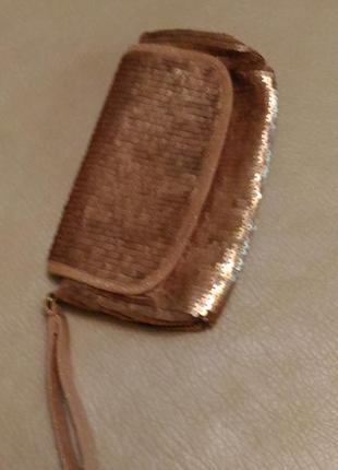 Вечерняя сумка клатч с пайетками, золотистого пудрового цвета