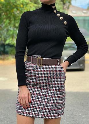 Теплая твидовая юбка