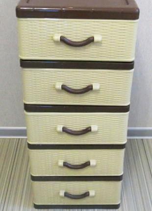 Пластиковый органайзер на 5 ящиков комод тумба этажерка шкафчик