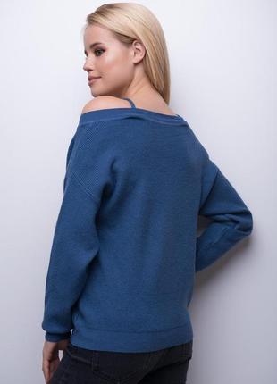 Модный джемпер - майка синего цвета