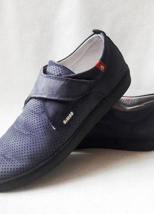 Синие замшевые кожаные туфли, мокасины с дырочками на мальчика