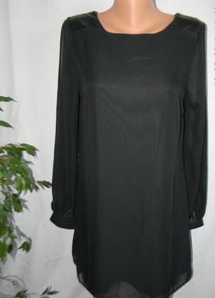 Шифоновое платье со вставками под кожу f&f